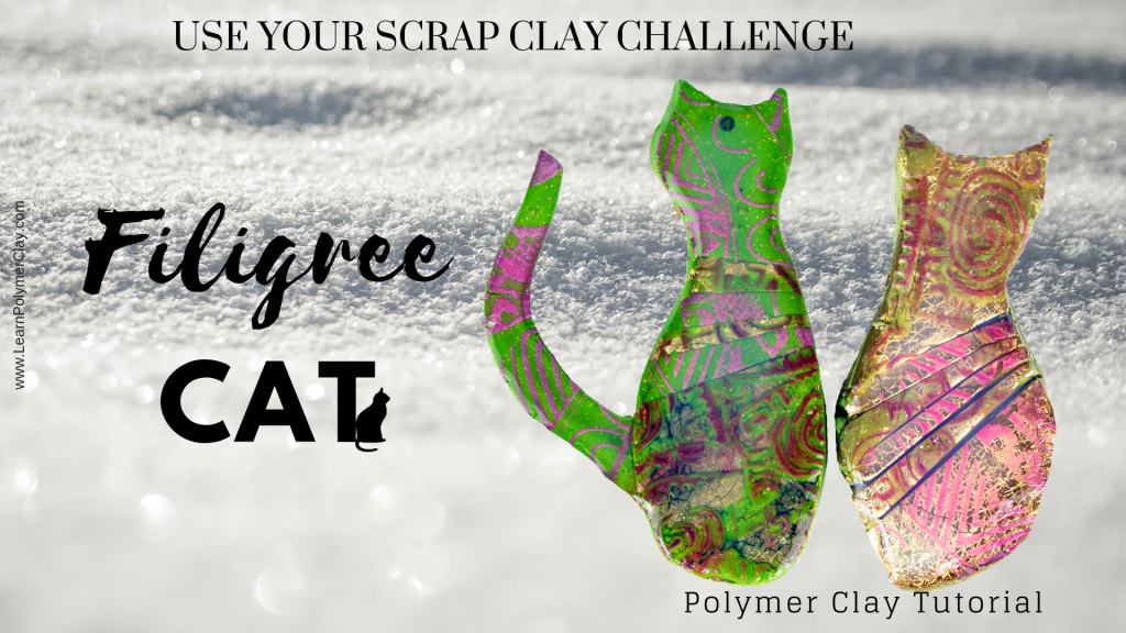 Use your scrap clay Challenge - Filigree cat polymer clay video tutorial