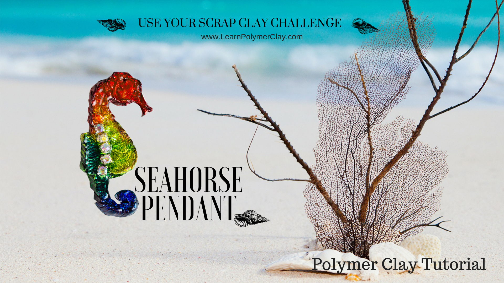 Seahorse polymer clay video tutorial - Use your scrap clay challenge