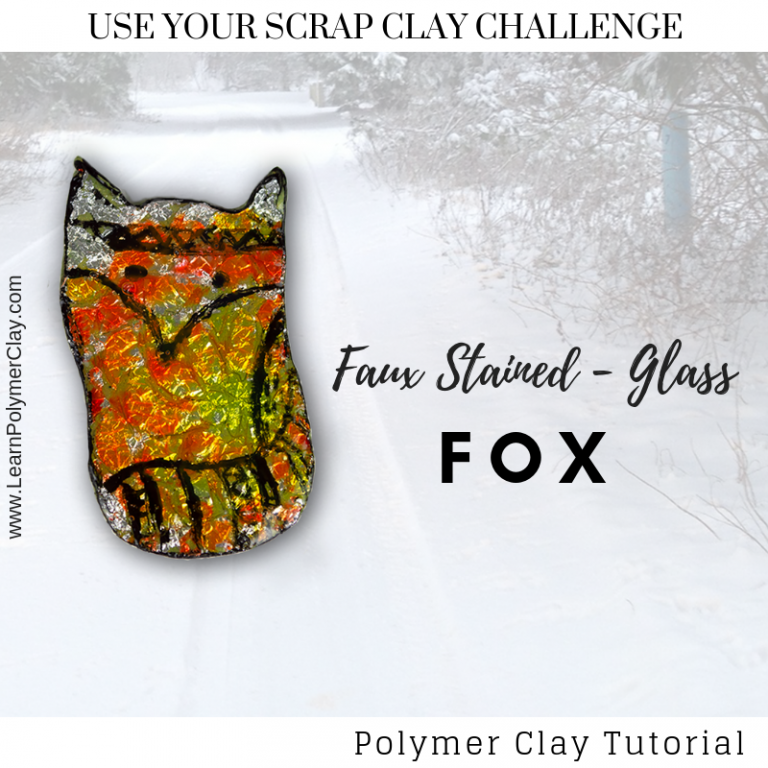 Faux stained-glass fox – Use your Scrap Clay Challenge – Day 4