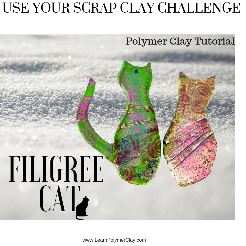 Filigree cat – Day 3 – Use your scrap clay challenge