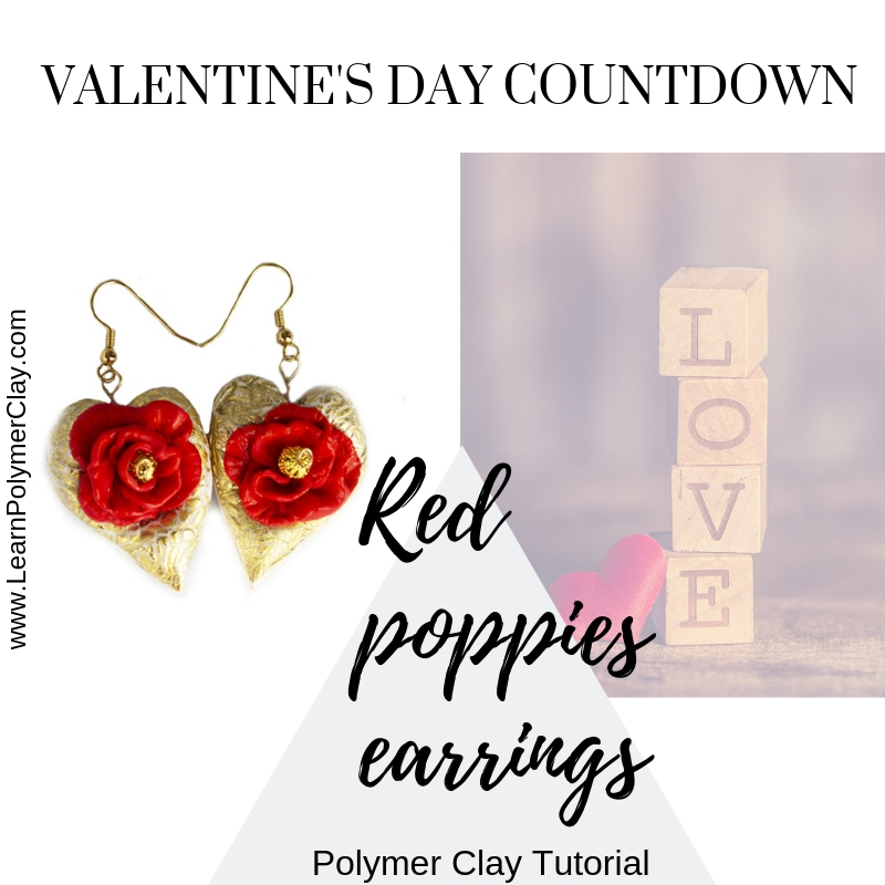 Red poppies polymer clay earrings – Valentine's Day Countdown – 2