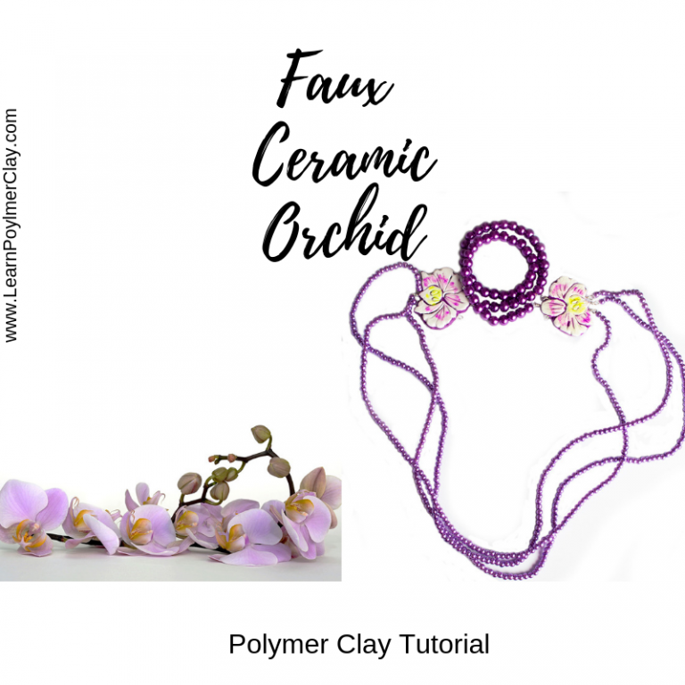 Faux ceramic orchid polymer clay tutorial